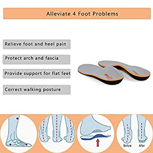 PCSsole Plantilla ortopédica, Fascitis Plantar con Soportes de Arco para el pie plano pronación para ayudar a reducir el dolor en el talón tendinitis de Aquiles (EU41-42(27cm))