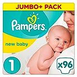 Paquete grande (mini) de 96 pañales talla 1 para recién nacido, de Pampers