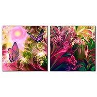 キャンバス抽象壁アート蝶と花ポップアートプリントキャンバス絵画リビングルーム家の装飾アートワーク(60x60cm)×2pcsフレームレス