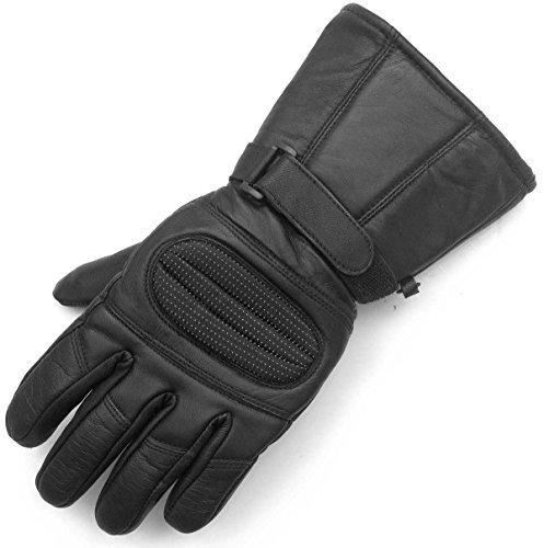 Men's Motorcycle Gauntlet Leather Windproof Heavy Duty Winter Biker Gloves L