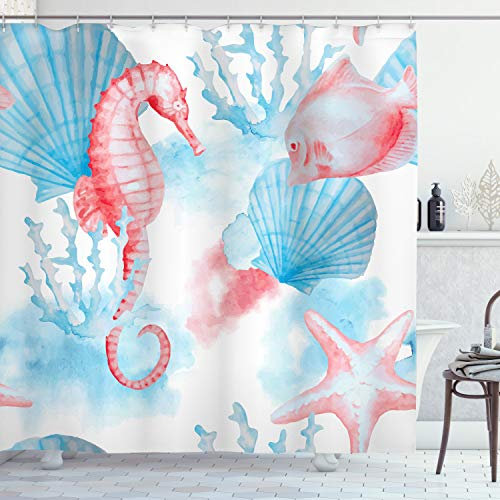 Ambesonne Nautical Shower Curtain, Shells and The Sea Horse with Corals and Fish by Sandy Beach Exotic Watercolor Effect Art, Cloth Fabric Bathroom Decor Set with Hooks, 84' Long Extra, White Coral