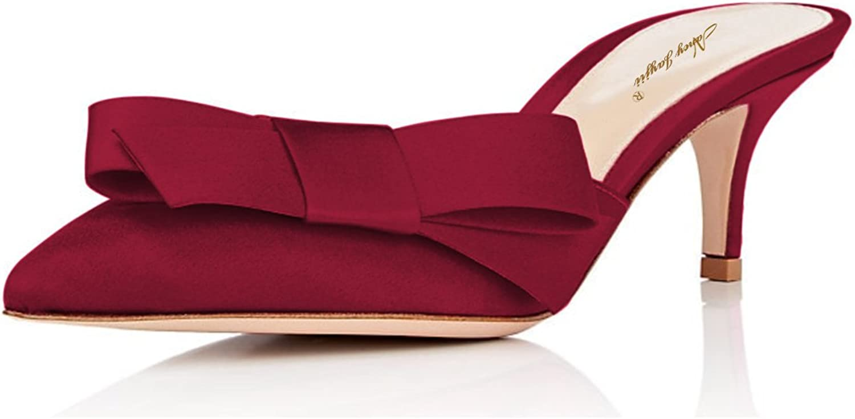 NJPU Womens Pointed Toe Slide Sandals Kitten Low Heels Mules Slip on Pumps Satin Bowknot shoes