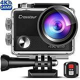 Crosstour CT9000 Action Cam 4K WIFI con Telecomando e LDC Action Camera Subacquea 40M e Kit di Accessori