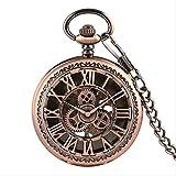 KaiKai WatchRose Bolsillo de Cobre del Oro Reductor Manual del Viento Mechancial Reloj de Bolsillo Retro Hombres Mujeres Fob de la Cadena del Reloj Mejores Regalos (Color : Rose Gold)