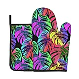 Funny Oven Mitt and Pot Holders Set Beautiful Leaves Heavy Duty Cooking Gloves Advanced Heat Resistance Grilling Gadgets to Protect Hands Surfaces for Men Women