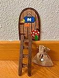 Puerta Ratoncito Pérez mágica con Carta, Escalera, Bolsita, Regalo original niño niña Ratón Pérez. Hecho a mano en España.
