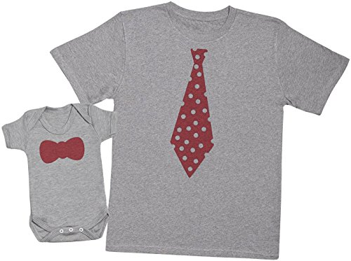 Zarlivia Clothing Tie and Bowtie - Ensemble Père Bébé Cadeau - Hommes T-Shirt & Body bébé - Gris - M & Naissance