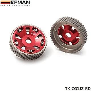 EPMAN Adjustable Aluminum Engine Motor Single Cam Shaft Gear Wheel Sprocket For TOYOTA Supra 1JZ 2JZ TE (Red, Pack Of 2)