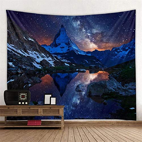 Decoración de pared Galaxy Tapiz Manta colgante de pared Tapices de tela de pared Paisaje Montaña Cielo estrellado Alfombra Dormitorio Decoración 152X132CM