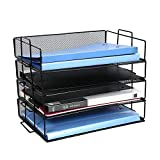 CLATINA 4-Tier Office File Organizer Paper Letter Tray with Metal Mesh Stackable Document Folders for Business Home School Desks Black