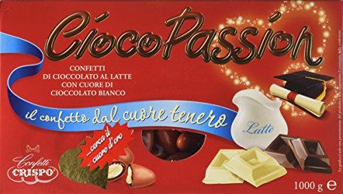 Confetti Crispo Cioco Passion Cioccolato al Latte con Cuore di Cioccolato Bianco, Colore Rosso - 1 kg