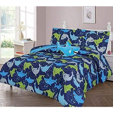 All American Kids Navy Blue Shark 3-Piece TwinComforter Set with Pillow Shamand Plush Shark Accent Pillow Vivid SharkThemed Bedroom Set