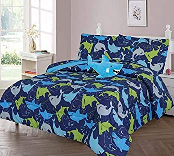 GorgeousHomeLinen Boys Girls Teens Twin 6PC Comforter Bedding Set with Matching Sheets and Small Decorative Pillow Bed Dressing for Kids Shark Blue