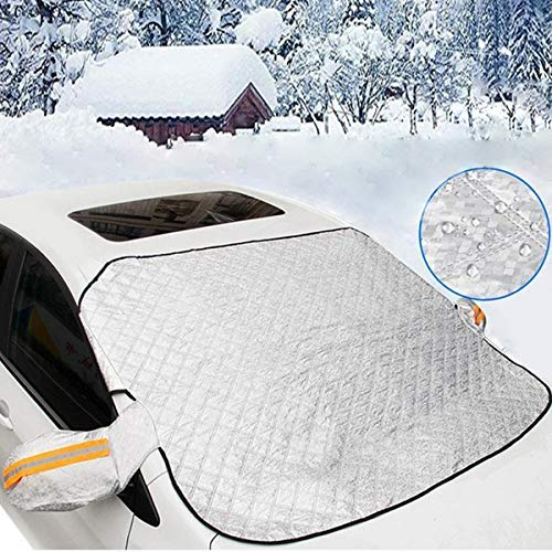 Car Windshield Hail Cover, Windshield Cover for Ice and Snow With 4 Layers Protector & Magnets Double Fixed Design All Weather Outdoor Car Snow Covers,UV-resistant Windshield is Fits Any Car