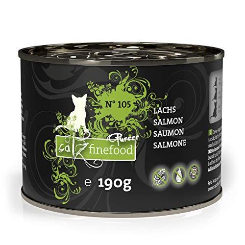 catz finefood Purrrr Lachs Monoprotein Katzenfutter nass N° 105, für ernährungssensible Katzen, 6 x 190 g
