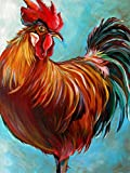 Kaliosy 5D Diamond Painting Colorful Animals Hen Cock Fat Chicken Feather by Number Kits Paint with Diamonds Art, DIY Crystal Craft Full Drill Cross Stitch Decoration (12x16inch)