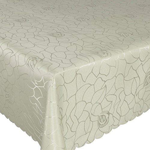 Zilveren tafelkleed, tafelkleed, tafellinnen, damast, polyester, crème, rozen, reliëf, ovaal, 135 x 180 cm