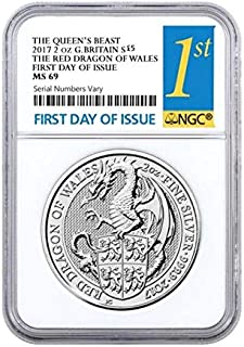 2017 UK Great Britain 2 oz Silver Queens Beast (Red Dragon) Coin 5 GBP MS 69 First Day of Issue NGC