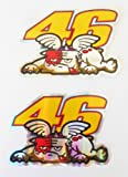 2D Chrome VR46 Valentino Rossi Dog Stickers Decals Adhesivo - Set of 2 Pieces