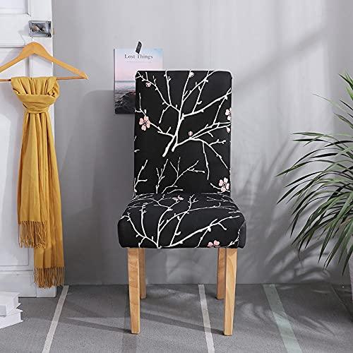ZSDFAEG Svart tryckt stretch matstol överdrag 8-pack elastisk spandex hög rygg stol skydd för matsal vardagsrum bröllop bankett fest dekoration (grenar rosa blommor)