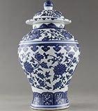 Antigedades muy buena China pintada a mano flores azul y blanco Jarrn de porcelana (