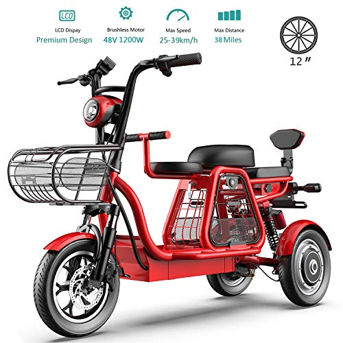 HUIIT 3 Wheel Stable Electric Bikes for Adult 1200 W Electric Scooter 48V 25AH 12'' Electric Bicycle with Electric Lock Ebike for Woman Home Beach Shopping (Family with Children Or Pets),Red