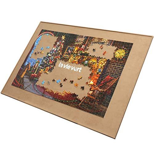LAVIEVERT Holzpuzzle-Brett, Puzzle-Aufbewahrung, Puzzle-Sparer mit Rutschfester Oberfläche für bis zu 1500 Teile - Khaki