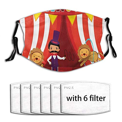 Face mask reusable Circus Tamer and Lion Circus Performance Amusing Celebrating Decorative Party Image Dust Washable Mouth Warm Windproof Cotton Face Made in USA