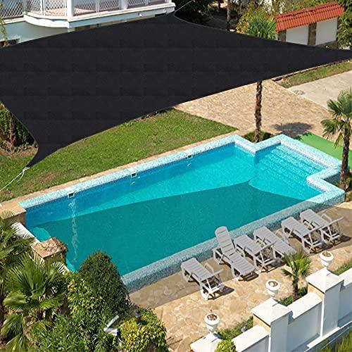 LXTIN Toldo de protección Solar de 4 m x 7 m, rectángulo Gris, toldo Impermeable al 90% con Bloqueador de Rayos UV, toldo para Patio al Aire Libre, jardín, césped, pérgola, Cubierta, neg