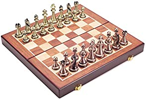 Exforces Wooden Chess Set for Kids and Adults, Travel Foldable Portable Board Game Set with Metal Chess Pieces for Beginner