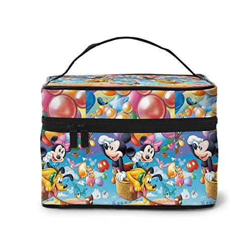 Makeup Bag, Mickey Minnie Hot Air Balloon Travel Portable Cosmetic Bag Large Pouch Mesh Brush Organizer Toiletry Bag for Women Girls