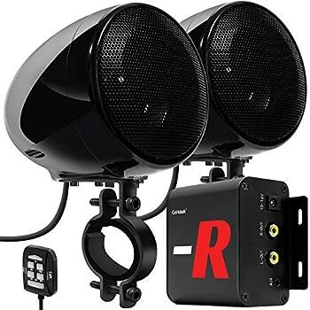 GoHawk TN4-R Amplifier 4  Full Range Waterproof Bluetooth Motorcycle Stereo Speakers 1 to 1.5 in Handlebar Mount Audio Amp System Harley Touring Cruiser ATV UTV RZR AUX FM Radio  TN4-R Black