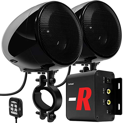 "GoHawk TN4-R Amplifier 4"" Full Range Waterproof Bluetooth Motorcycle Stereo Speakers 1 to 1.5 in. Handlebar Mount Audio Amp System Harley Touring Cruiser ATV UTV RZR, AUX, FM Radio (TN4-R Black)"