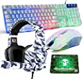 Gaming Keyboard and Mouse,4 in 1 Gaming Combo,Rainbow LED Backlit Wired Keyboard,2400DPI 6 Button Optical Gaming Mouse,Gaming Headset,Gaming Mouse Pad for PC Gaming(White)