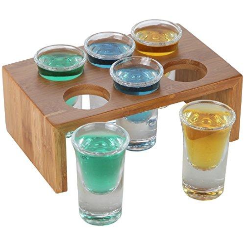 Bambus Shot Unzen Glas Halterung Set mit 6Kristall klar Shot Gläser Barkeeper Shot Glas Rack Barman Shot Glas Display von Lily 's Home