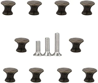 10 Pcs Vintage Cabinet Drawer Pull Handles Mini Metal Jewelry Box Gift Case Knobs,3 Size Screw (Bronze)