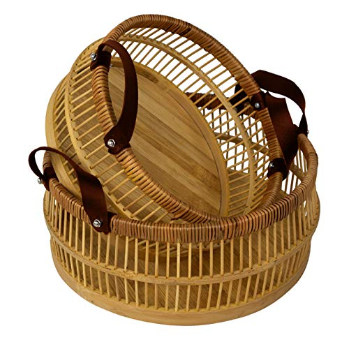 Bamboo Hand Woven Storage Basket Bin with Leather Handle,Decorative Basket Organizer for Fruit, Gift, Grocery, Easter,Kitchen Living Room Dressing Baby Nursery Laundry Kid's Toy (Set 2 Bamboo Baskets)