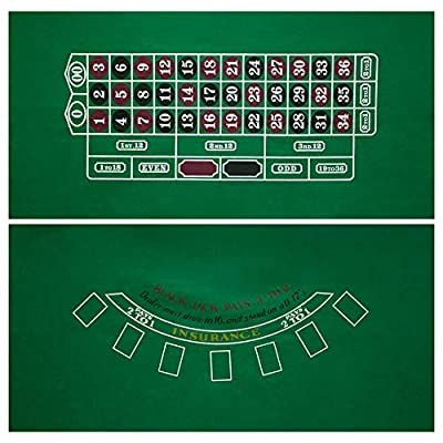 """GSE Games & Sports Expert 2-Sided 36""""x72""""Casino Tabletop Felt Layout Mat (Blackjack, Craps, Roulette, Texas Hold'em Available) (Blackjack/Roulette Layout)"""