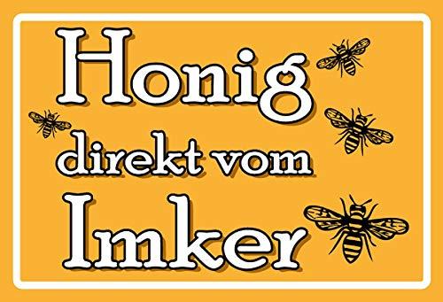 FS Spruch Honig direkt vom Imker gelbes Blechschild Schild gewölbt Metal Sign 20 x 30 cm