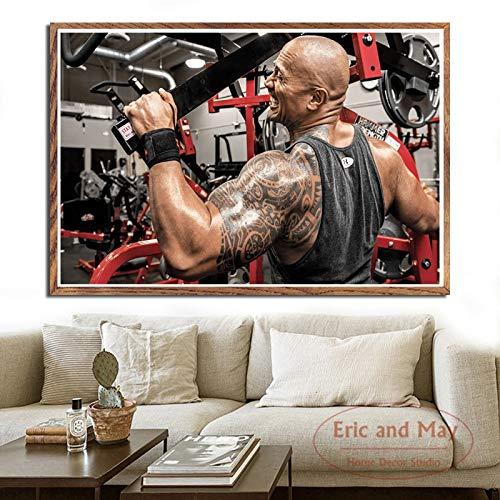 wZUN Rock Boulder Ejercicio Fitness Culturismo músculo Arte Pintura Vintage Lienzo Cartel Pared decoración del hogar 60x80 Sin Marco