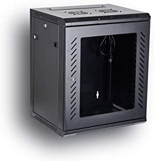 KENUCO [Fully Assembled] Deluxe IT Wall Mount Cabinet | Server Rack | Data Network Enclosure 19-Inch Server Network Rack with Locking Tempered Glass Door (Black 12U)