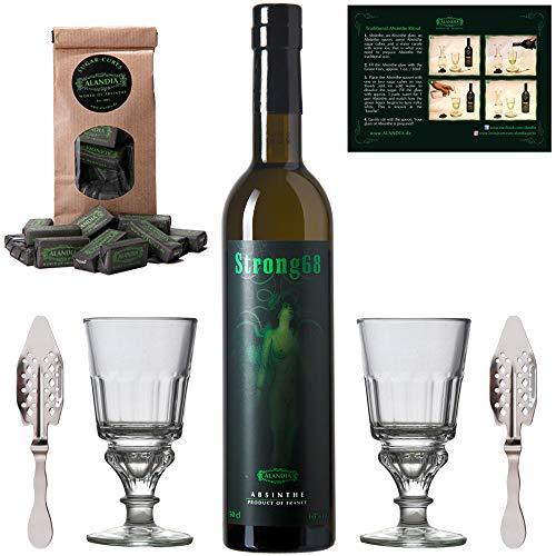 Absinth Set Strong68 | Original Absinth mit Wermut/Thujon | 2x Absinth-Gläser / 2x Absinth-Löffel / 1x Absinth-Zuckerwürfel | (1x 0.5 l)