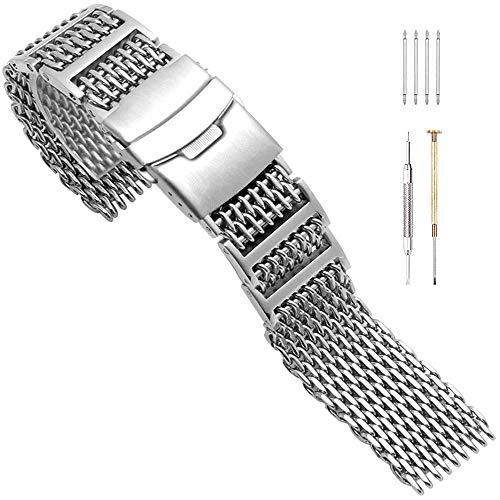 H Links Schroef Instelling Haai Mesh Horlogeband RVS Horlogeband 20mm 22mm 24mm Geborsteld Armband voor Mannen Vrouwen Implementatie Dubbele Hervorming Gesp Zwart/Zilver