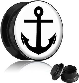 Flesh Tunnel Plug Inlay Piercing Kunststoff Anker Anchor Vintage Herren Maritim