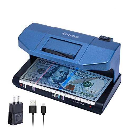 TIHOO Counterfeit Bill Detector with Magnetic and UV Detection, Money Marker Counterfeits Money Detector, Counterfeit Bill Money Detector Checker, Blue