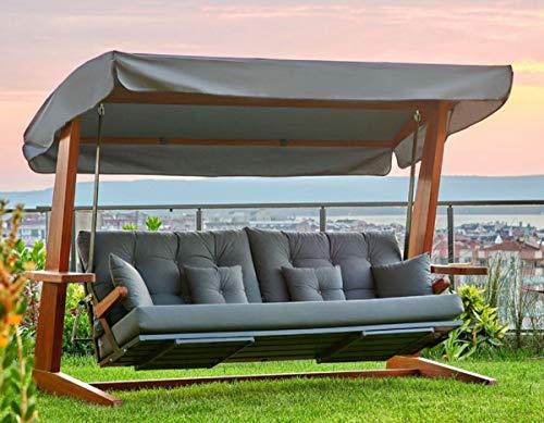 Casa Padrino Columpio de Hollywood de Lujo Gris Antracita/marrón - Columpio de jardín Moderno Resistente a la Intemperie con toldo para el Sol - Columpio de Terraza de Jardín - Muebles de Hotel