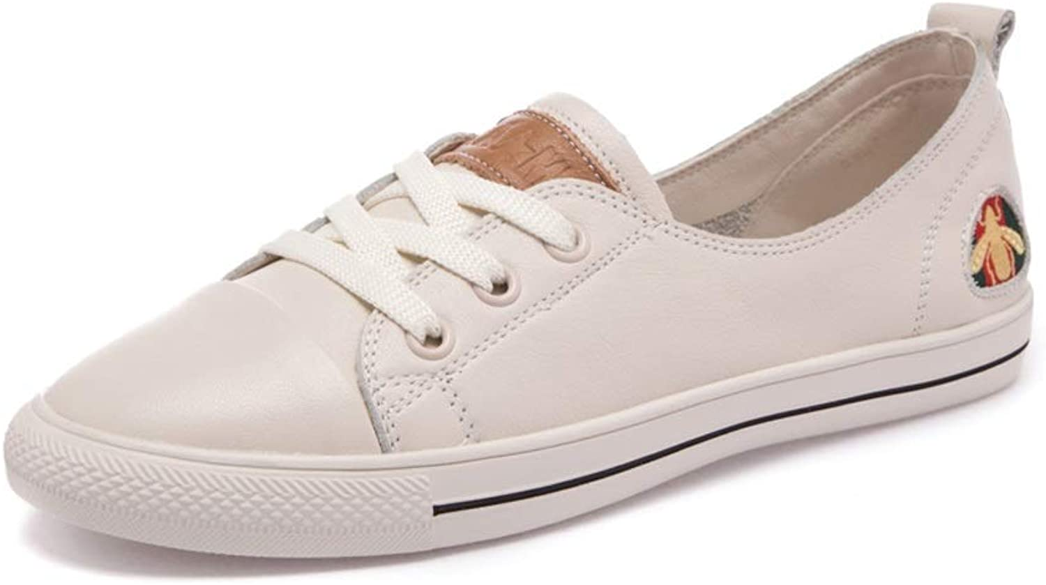 Ailj Canvas shoes, Women's Classic Low-top Sneakers Clean Court Up and Down Low-Top Sneakers 4 Colour (color   Beige, Size   37 EU)