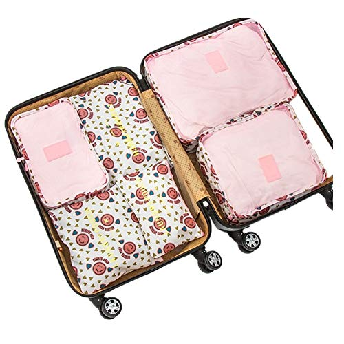 6Pcs Waterproof Travel Storage Bags Clothes Packing Cube Luggage Organizer Pouch Pink Smile