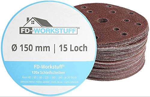 FD-Workstuff - Discos abrasivos profesionales (120 unidades, 15 orificios, diámetro de 150 mm, 20 unidades de grano 40/60/80/120/180/240, para lijadora excéntrica, discos abrasivos)