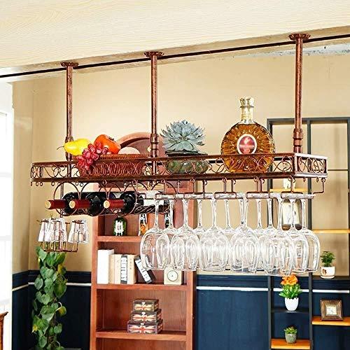 HJXSXHZ366 Estantería de Vino Montado en la Pared Estante de la Botella de Vino Colgador portavasos Creativa Cocina, Bar, Restaurante Estante de Vino pequeño (Color : Bronze, Size : 100x25cm)